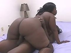 Appetizing ebony gets pussy stuffed
